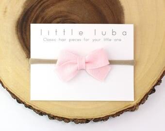 Baby Pink, Felt Bow : Baby Headband, Toddler Hair Clip, Baby Hair Accessory, Bow Headband. Felt Bow Baby Pink