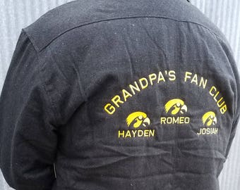 Personalized Grandpa's Fan Club Game Day Quilted Flannel Jacket- Text Of Your Choice