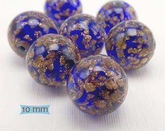 Venetian Glass Beads Handmade Dark Blue with Copper--1 Pc   31-SOM151-1
