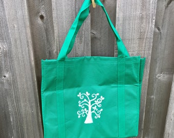 DELUXE  size green hand stamped grocery tote with *Tree Print*