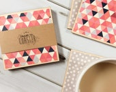 Geometric Coasters, Pink Coasters, Pink Decor, Grey Coasters, Grey Decor, Gifts for Her, Wooden Coasters, Wood Coasters, Wood Coaster Set