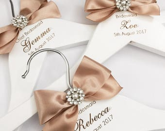 Laser engraved Bridal or Bridesmaid hanger with satin ribbon and embellishments