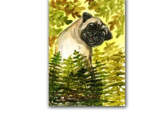 Little Happy Pug Dog Puppy Autumn LLMartin Original ACEO  Watercolor Free Shipping USA Baby Nursery New Mom Toddler Child