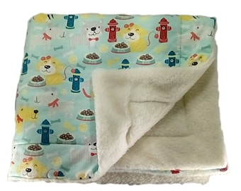 Dog Blanket with fire hydrants, plush blanket, puppy blanket, pet blanket, sherpa blanket,