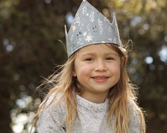 Children's dress-up crown or party hat: reversible, gold denim with pink and grey flowers and butterflies