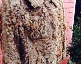 Vintage curly lamb fur coat
