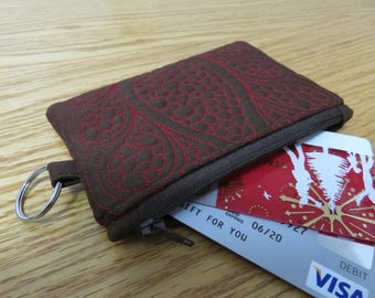 Chocolate Brown Quilted Coin Purse, Zipper Wallet, Small Pouch, Padded Wallet