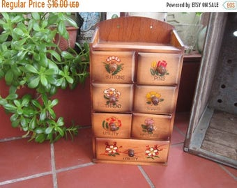Sewing Box Wood Vintage 1950's Wall Table Storage Drawers Nic Nac Mid Century Decor Wall Decor - Crf09