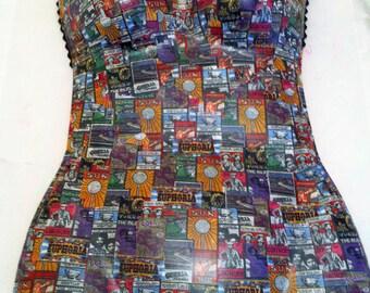 Wall art woman's torso wrapped in pop art type funky paper