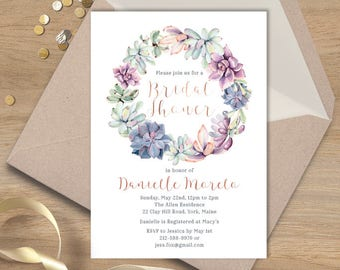 Succulent Bridal Shower Invitation / Purple, Green, Rose Gold / Cactus Wreath / Fiesta Shower  ▷ Printed Heavy Paper {or} Printable