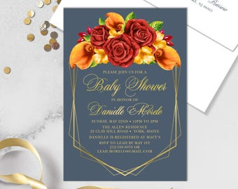 Fall Baby Shower Invitation / Red Rose Flower, Orange Calla Lilly, Floral Invitation, Gold Geometric ▷ Printed Heavy Paper {or} Printable