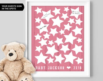 Pink Stars Baby Shower Guest Book Alternative / Girl Guest Book, Starry Night Baby Shower, It's a Girl▷Canvas, Board, Paper {or} Printable