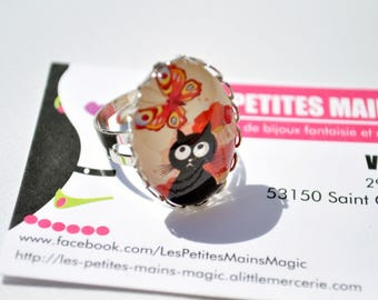 retro cat and butterfly Ring