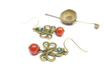 Earrings art nouveau carnelian stone. Earrings creator brass. Turquoise.