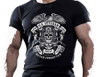 US Veteran. Black cotton t-shirt. Good gift for friend, husband or boyfriend