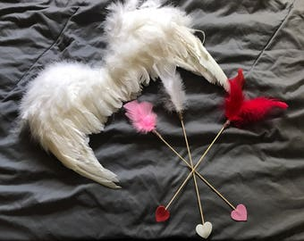 Custom Cupids Valentine Heart Arrows with Feathers-Set of 6-Choose your colors!