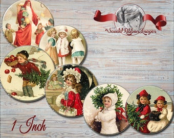 VINTAGE CHRISTMAS bottle Cap Images 1 inch round circles Victorian Christmas images for bottle caps, bows, party favors and more