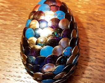 Handmade Dragon Egg -Purple Blue Silver Glitter - Game of Thrones - Harry Potter - Lord of the Rings - Geek Gift Christmas Birthday Easter