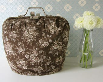 Vintage Brown Wadded Tea Cosy with a Floral Design made by Douwe Egberts Netherlands 70s 17153