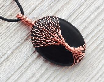 Black Onyx Necklace - Onyx Necklace - Black Necklace - Onyx Pendant - Black Onyx Pendant - Onyx Tree Of Life - Onyx - Black Onyx - Black