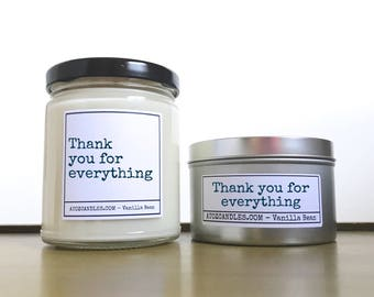 Thank you Gift | Thanks Gift | Thank you Candle | Customized Candle | Personalized Candle |  Scented Soy Candle | Thank You For Everything