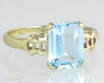 Estate 10K Yellow Gold 2.00ct Aquamarine Engagement Ring Handwrought
