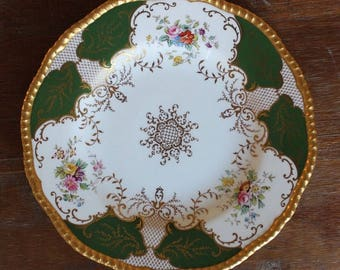 Vintage COALPORT Davis Collamore Made in England Green Floral Gold Set of 2