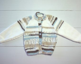 Baby cardigan. Knitted cardigan. knitted baby sweater. Baby boy. Baby gift. Baby shower gift. Newborn-3 months. Knitted baby jacket. Jumper.