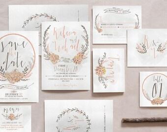 WREATH and FLOWER WEDDING Invitation, Wreath and Flower Wedding Invitation Set, Rustic Wedding Invitation, Wedding Invitation Kit