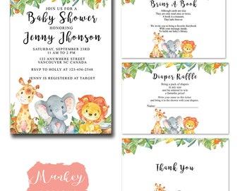 SAFARI BABY SHOWER Invitation Set, Jungle Baby Shower Invitation Set