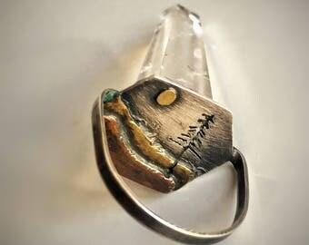 Quartz Crystal Pendant, Landscape metal necklace, Mixed metals pendant, Brass and copper necklace, mountain pendant, Cristal landscape,