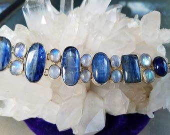 Blue Kyanite Moonstone Sterling Silver Bracelet
