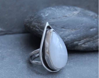 Moonstone and Sterling Silver Ring.