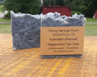 Activated Charcoal soap with tea tree and peppermint oil all natural handmade face soap Made from springwater at Honey Springs Farm