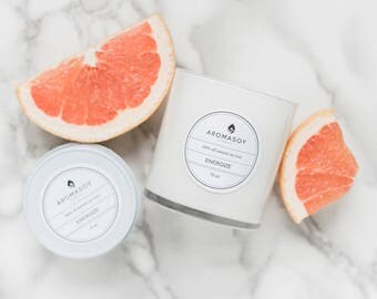 ENERGIZE Soy Candle / Grapefruit Candle / Citrus Candle / Gift Idea / Home Decor / Minimalist Decor / White Home Decor / Handmade / Natural