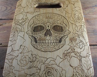 Sugar Skull Cutting Board, Skull Decor, Skull Kitchen, Gift for Husband, GIft for Boyfriend, Gift for Her, Cook Gift, Skull, Housewarming