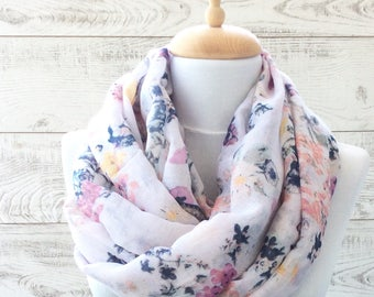 White flowers print scarf infinity scarf women shawl gift ideas for her fashion accessories scarves infinity scarf