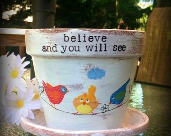 Personalized flower pot, custom planter, decoupage, painted terracotta, text on clay pot, gift for her,housewarming,garden decor, bird decor
