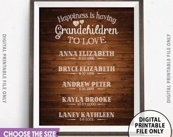 Grandchildren Sign Personalized Grandkids Sign Custom Gift for Grandparents Gift, Grandma, Grandpa, Rustic Wood Style Digital PRINTABLE File