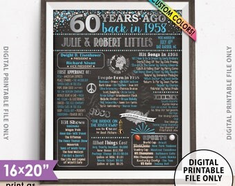 "60th Anniversary Gift Flashback in 1958, Married in 1958 Anniversary, Custom Chalkboard Style PRINTABLE 8x10/16x20"" 1958 Anniversary Poster"