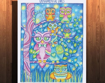 25 page owl coloring book - Ornamental owls - Owl coloring pages- beautiful owls