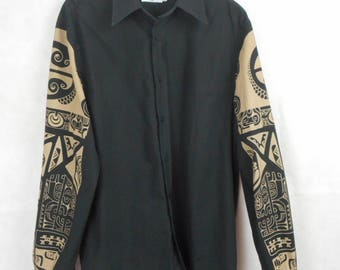 Moschino Shirt, Moschino Jeans Shirt, Moschino  Shirt with Prints Sleeves, Moschino Mens Shirt, Moschino Button Down Shirt, Size L