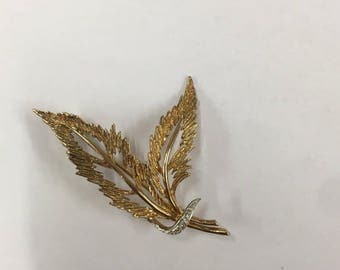 Vintage 1980s 9ct Yellow Gold Leaf Brooch