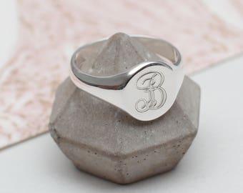 Ladies Sterling Silver Monogram Signet Ring (HBMR02)