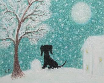 Dog Christmas Card, Snow Dog Card, Children Christmas Card, Black Dog Moon Art Card, Christmas Puppy, Kids Card, Snow Art Card Christmas Dog