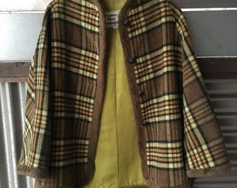 SALE! Vintage Wool Plaid Cape/Poncho Size Small by Poineer Wear
