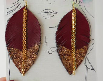 Dark Red Leather Feather Earrings, Dipped in Gold, Feather Earring, Festival Accessories, Blue Feather Earrings, Bohemian, Blue Leather