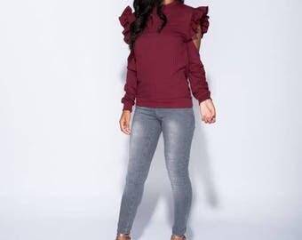 Wine Ruffle Cold Shoulder Sweatshirt