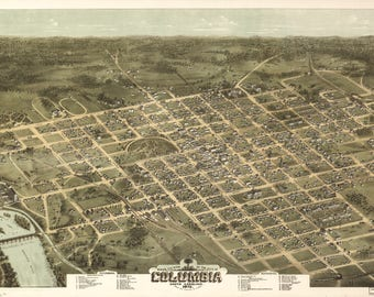 Columbia, SC Panoramic Map 1872. This print is a wonderful wall decoration for Den, Office, Man Cave or any wall seeking a bit of decor.