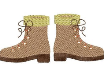 Hikking shoes embroidery design